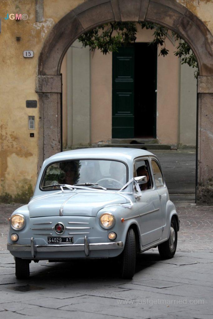 vintage car blue italy weddings