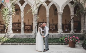bride and groom sorrento cloister