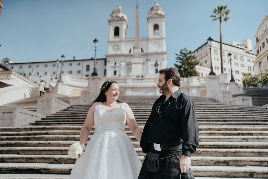 Spanish steps bride and groom rome