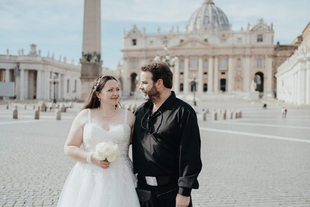 bride and groom in rome st peter